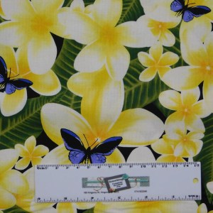 Patchwork Quilting Sewing Fabric YELLOW FRANGIPANIS Material 50x55cm FQ New