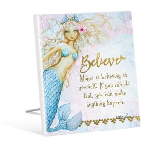 French Country Vintage Inspired Wall Art Wooden MERMAID BELIEVE IN YOURSELF Sign NEW