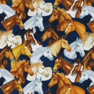 Patchwork Quilting Sewing Fabric MUSTANG SUNSET HORSES HEADS 50x55cm FQ New