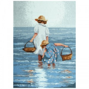 DMC Cross Stitch Kit BY THE SEASHORE Counted X Stitch NEW incl Thread & Aida Cloth JV003