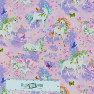 Patchwork Quilting Sewing Fabric PINK UNICORNS 50x55cm FQ New