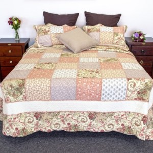 French Country Vintage Inspired Patchwork Bed Quilt AUTUMN BURST Coverlet New