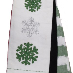 Set of 3 New Tea Towels Kitchen CHRISTMAS SNOWFLAKE GREEN Teatowels NEW