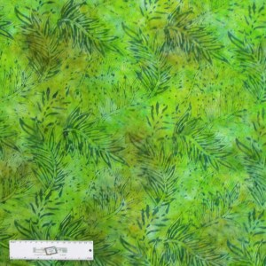 Patchwork Quilting Sewing Batik Fabric GREEN PALM LEAVES 50x55cm FQ New
