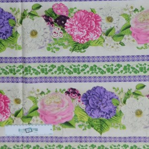 Patchwork Quilting Sewing Fabric FLOWER SHOW BORDER 50x55cm FQ New