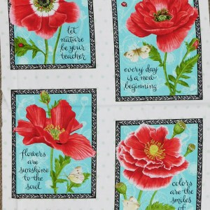 Patchwork Quilting Sewing Fabric POPPY FLOWERS Panel 90x110cm New