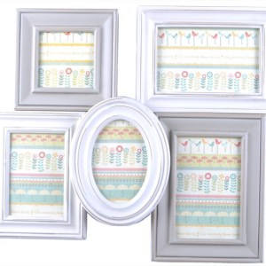 French Country 5 Wall Photo Collage CREAM GREY MULTI Photography Frame New