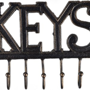 French Country Vintage Inspired Wall Art KEYS Wrought Iron Key 7 Hooks NEW