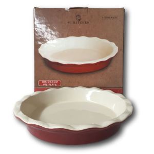 French Country Elegant Kitchen RED TART FLAN Stoneware Dish Oven, Microwave NEW