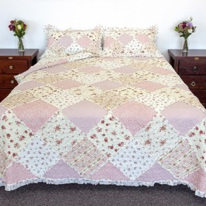 French Country Vintage Inspired Patchwork Bed Quilt SARAH ROSE Coverlet New