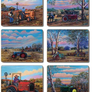 Country Kitchen TRACTORS Cork Backed Placemats or Coasters Set 6 NEW Cinnamon