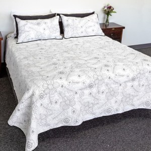 French Country Vintage Inspired Patchwork Bed Quilt WHITE SERENATA Coverlet New