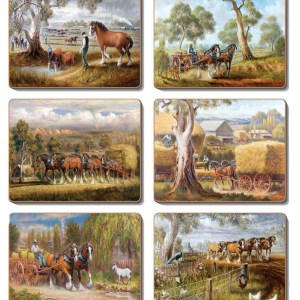 Country Kitchen WORKING HORSES Cork Backed Placemats or Coasters Set 6 NEW Cinnamon
