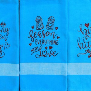Set of 3 Modern Country New Tea Towels Kitchen Sayings PALE BLUE Handmade Teatowels NEW