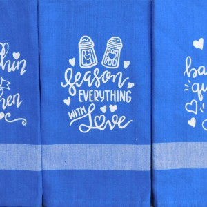 Set of 3 Modern Country New Tea Towels Kitchen Sayings BLUE Handmade Teatowels NEW