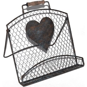 French Country Vintage Kitchen Chicken Wire Heart Recipe Book Holder Wrought Iron New