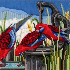 Country Threads Long Stitch Kit Crimson Rosellas Australian Birds New FLS1025