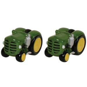 French Country Chic Collectable Novelty Salt and Pepper Set Green Tractor New