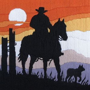 Country Threads Long Stitch Kit Stockman and Dog Sunset New FLS5015