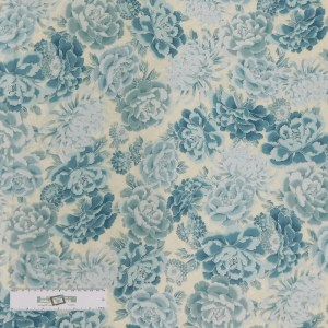 Patchwork Quilting Sewing Fabric Blue Floral Metallic 50x55cm FQ New Material