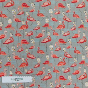 Patchwork Quilting Sewing Fabric Pink Flamingo 50x55cm FQ New Cotton Material