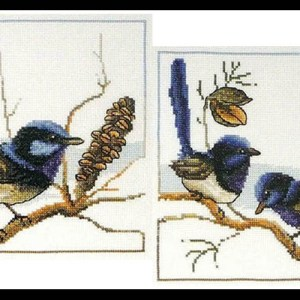 Country Threads Cross Stitch Kit Blue Wrens Set of 2 Birds New FJ1062