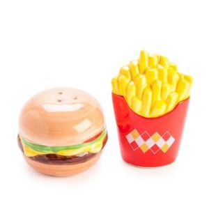 French Country Collectable Novelty Hamburger Fries Salt and Pepper Set New