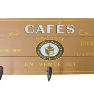 Country French Inspired Wall Art Timber Cafe Sign with Key Hooks Wooden Plaque NEW