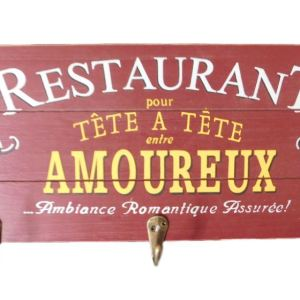 Country French Inspired Wall Art Timber Restaurant Sign with Key Hooks Wooden NEW