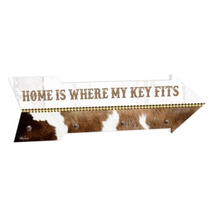 French Country Key Hook Rack Home is Key Cow Print Arrow New