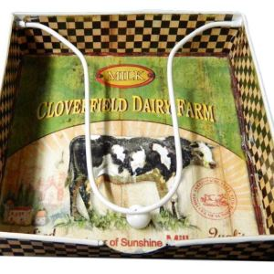 French Country Cows Cloverfield Napkin or Serviettes Holder Metal New