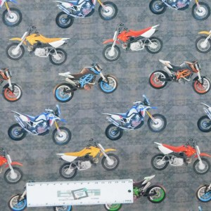 Patchwork Quilting Sewing Fabric Dirt Bikes Grey 50x55cm FQ New Material Allover