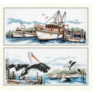 Country Threads Cross Stitch FISHING TRAWLERS & PELICANS Pattern New X Stitch FJP-1005-15 (CT)