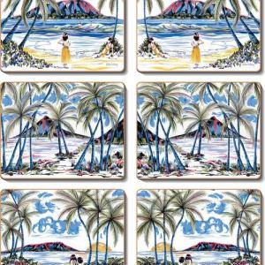 Country Inspired Kitchen Hawaiian Holiday Cork Backed Placemats or Coasters Set 6 New
