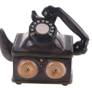 Collectable Novelty Kitchen Teapot Rotary Dial Telephone China Tea Pot New