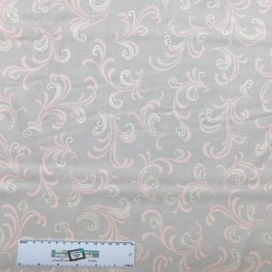 Quilting Patchwork Sewing Fabric GREY WITH PINK SWIRLS 50x55cm FQ New Material