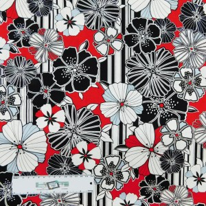 Quilting Patchwork Sewing Fabric BLACK, WHITE AND RED FLORAL 50x55cm FQ New