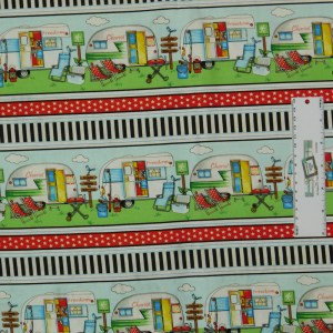 Patchwork Quilting Sewing Fabric HAPPY CAMPER CARAVAN BORDER 50x55cm FQ New