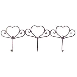 French Country Wall Art 3 HEART HOOKS Wrought Iron Keys Hats New