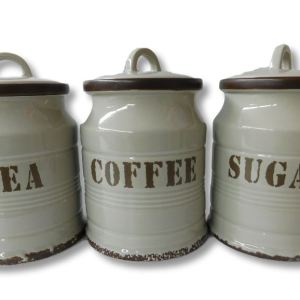 French Country Kitchen Canisters Stone Grey TEA, COFFEE, SUGAR with Seals Set of 3 China New