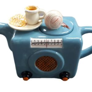 Collectable Novelty Kitchen Teapot Radio Blue Sky China Tea Pot New