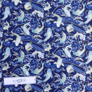 Patchwork Quilting Sewing Fabric JAPANESE KOI FISH NEW 50x55cm FQ New