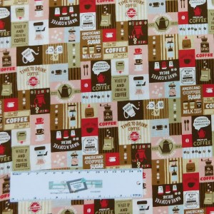 Patchwork Quilting Sewing Fabric HAVE A COFFEE BREAK 50x55cm FQ New