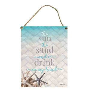 French Country Wall Art ISLAND ESCAPE SUN SAND DRINK Tin Sign New