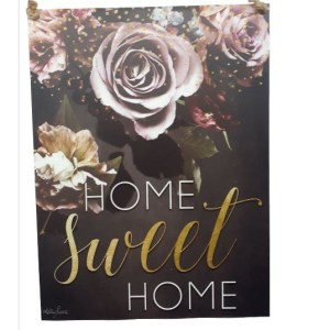 French Country Inspired Wall Art MIDNIGHT FLORAL HOME SWEET HOME 30x40cm Tin Sign New