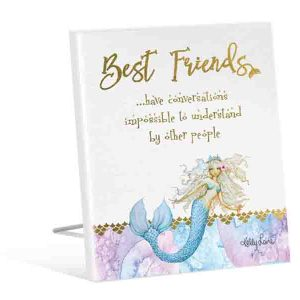 French Country Vintage Inspired Wooden MERMAID BEST FRIENDS Sign New