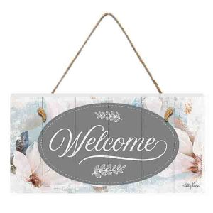 French Country Inspired Wall Art MAGNOLIA Welcome 15x30cm Wooden Sign New