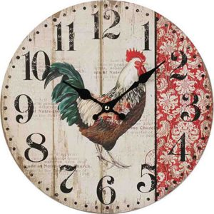 Clocks Country Vintage Inspired Wall Hanging RED ROOSTER Clock 34cm New