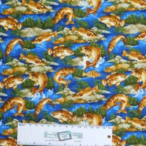 Patchwork Quilting Sewing Fabric GO BASS FISHING ALLOVER 50x55cm FQ New