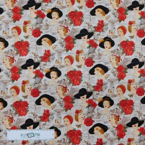 Patchwork Quilting Sewing Fabric PARIS LADIES AND ROSES 50x55cm FQ New